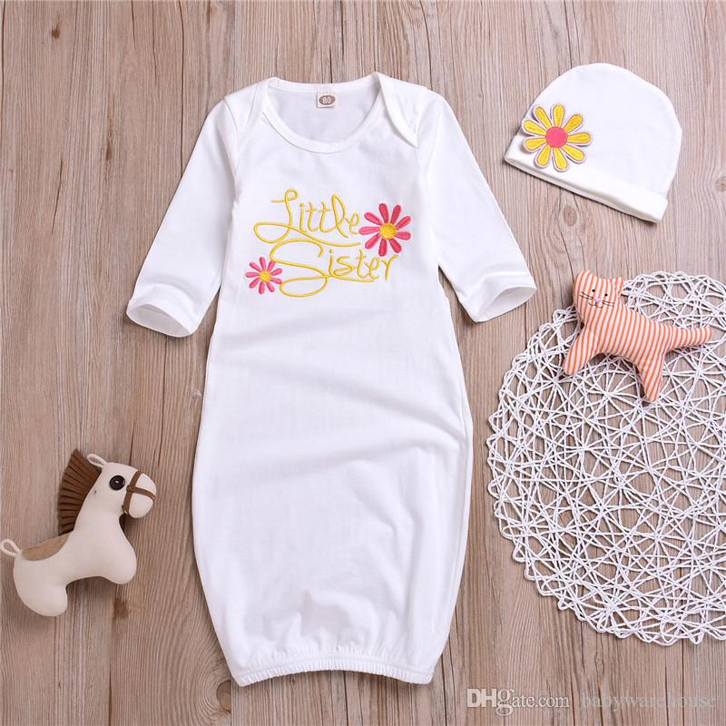 Kids Clothing Long Sleeve Little Sister Baby Girl Clothes Sets Coming Home Outfit Baby Gown Hat Set Baby Sleeping Bag Sleepwear Sleepsuit