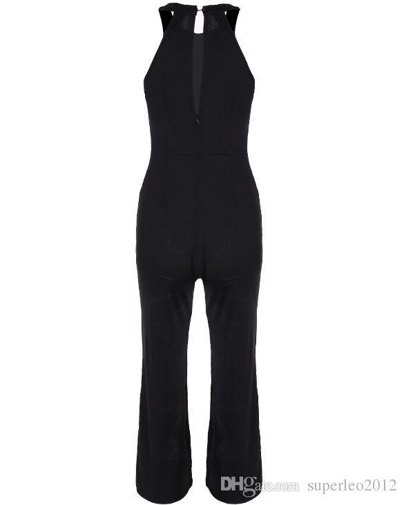 Women Sleeveless Jumpsuit Halter Neck European Style Slim One Piece Long Pants Flared Trousers Ladies Rompers Wide Legs