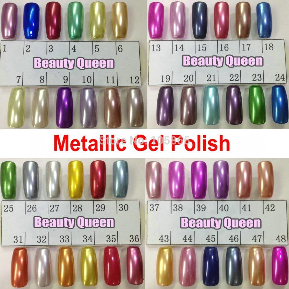 Metallic Mirror Nail Gel Polish Soak Off UV LED Metal Color Lamp ...