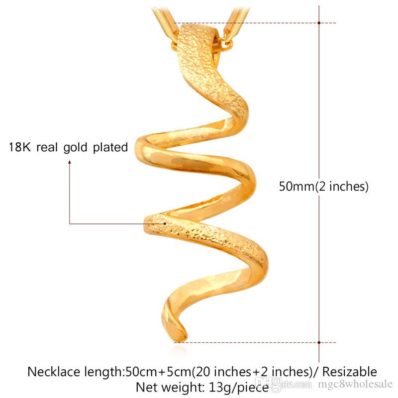 MGC Spiral Romantic Pendant Necklace 18K Real Gold/Platinum Plated New Summer Jewelry For Women P258