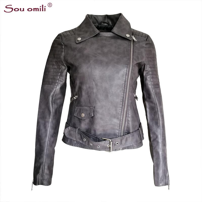 Wholesale- Autumn Grey Faux Leather Jacket Women Moto Biker Jacket Zip Belt Coats chaqueta Blazer PU Jack Rock cuir femme casaco 2018