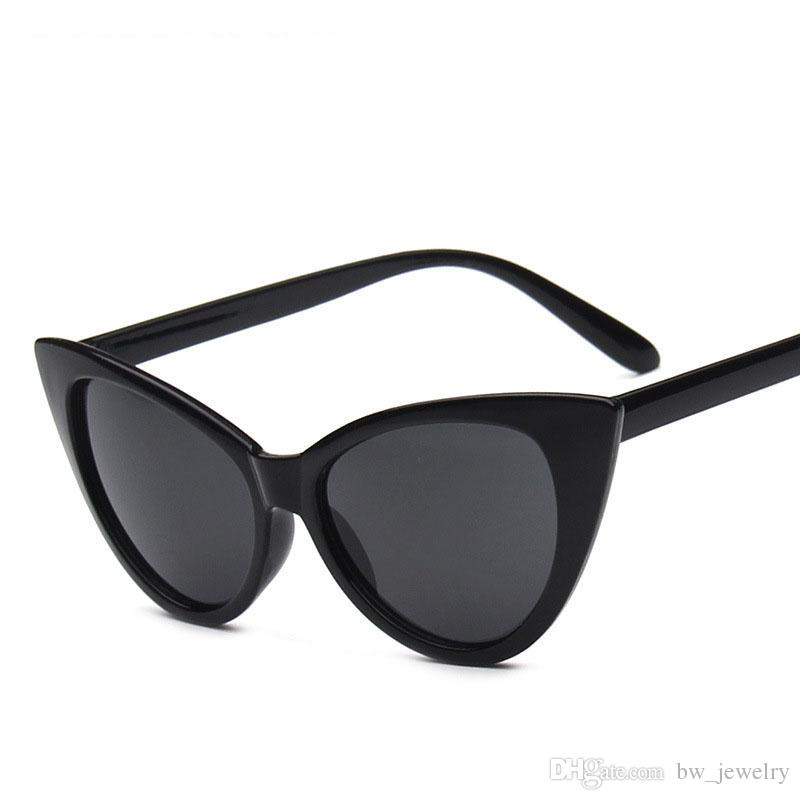 46424bfd852 Sexy Cat Eye Sunglasses Women Black White Plastic Sun Glasses Superstar Branded  Cateye Shades Retro Coating Mirror Oculos Round Sunglasses Cheap Eyeglasses  ...