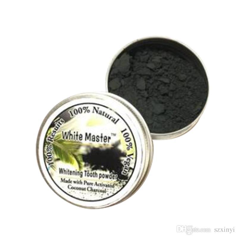 Venta caliente todos los dientes de carbón activado natural y orgánico en polvo y polvo de goma dientes totales blancos 30g