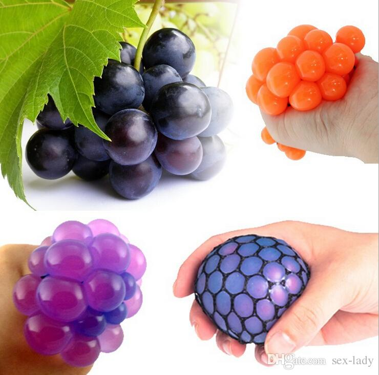 2016 Hot Sale Anti Stress Face Reliever Grape Ball Autism Mood Squeeze Relief Healthy Funny Tricky Toy