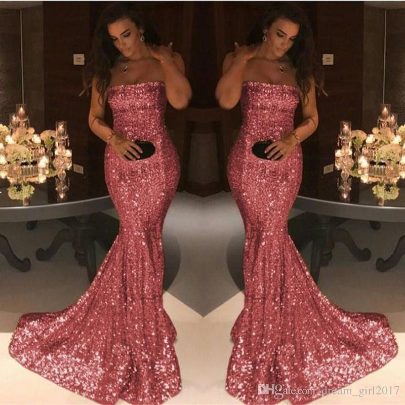 Charming Pink Sequind Prom Dress Simple Fashion Strapless Mermaid Evening Gown Party Dresses Cheap Custom Made Sweep Train Evening Dress
