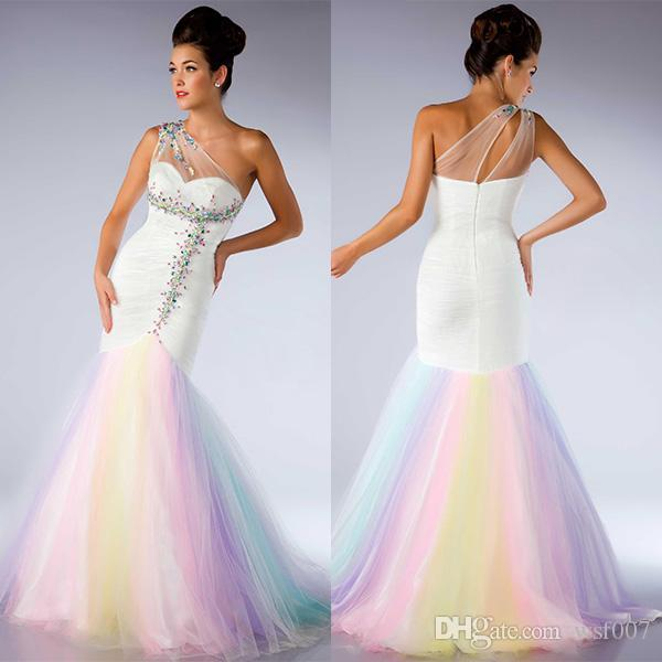 2015 One Shoulder Prom Dresses Mermaid Rainbow Tulle Prom Dress ...