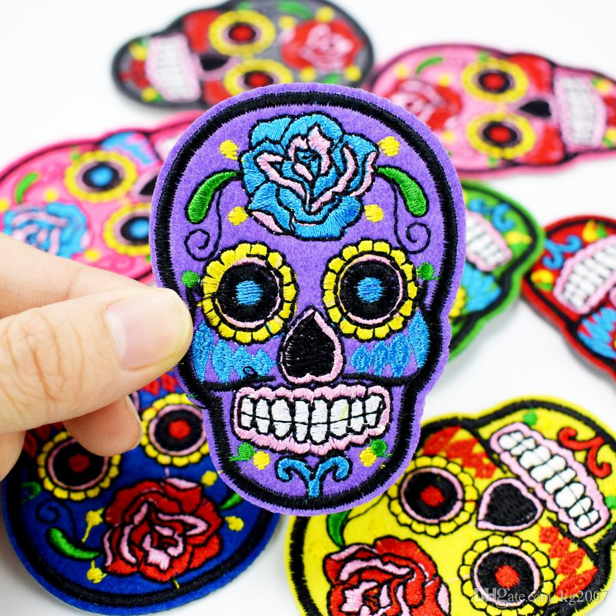 Multicolor Skull Patches for Clothing Bags Iron on Transfer Applique Patch for Jacket Jeans DIY Sew on Embroidered Stickers