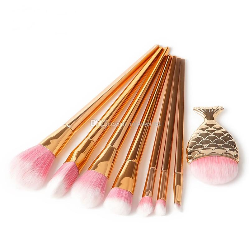 Mermaid Makeup brushes Set Make Up Brush 3D Diamond Colorful Spiral Bling brushes Fundation Powder Cream Blush Glitter Brush Kit
