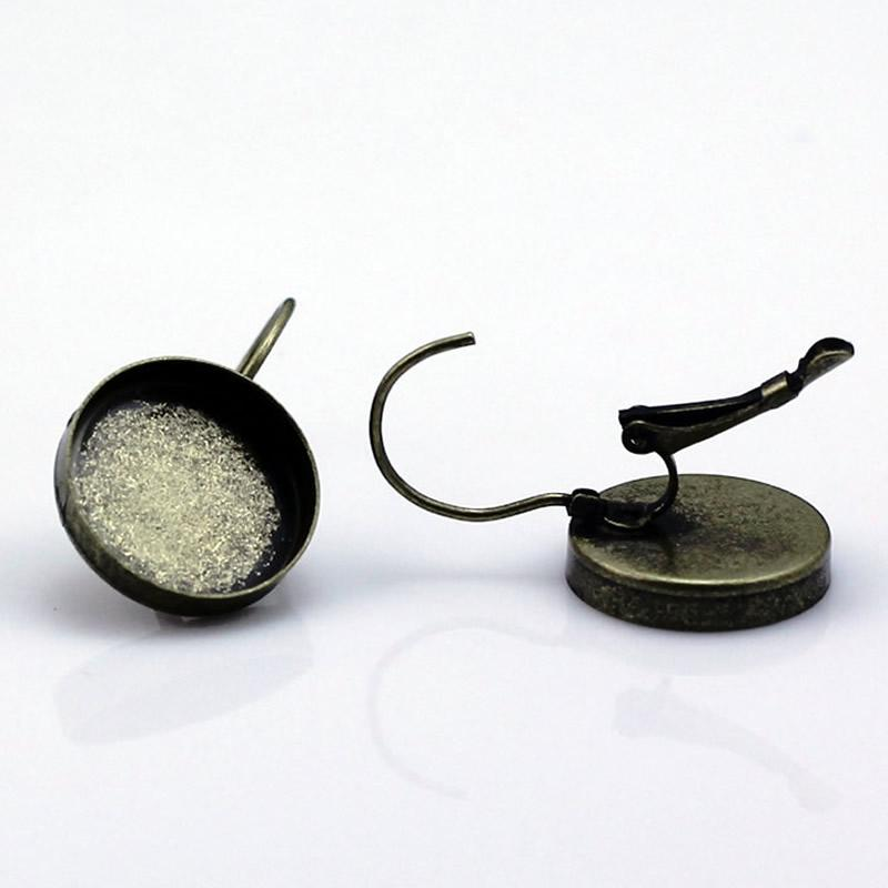 Beadsnice francés palanca pendiente posterior en blanco bisel pendientes de latón componentes aptos para 15 mm cabujones redondos ID12136