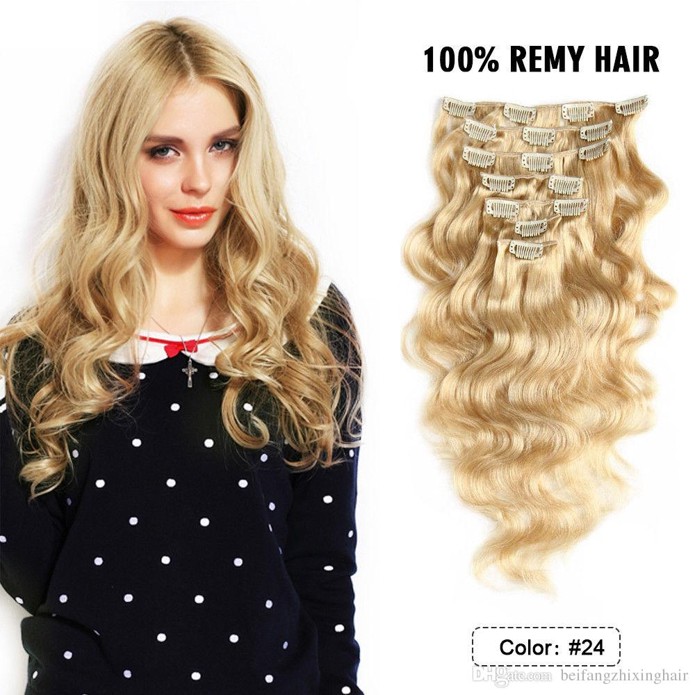 Grade 8a Human Clip In Hair Extensions 18inch 150g Clip In Human