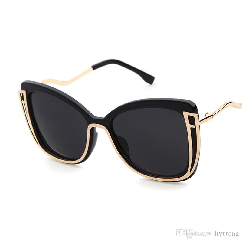 f00ef39e66 Fashion Brand Large Frame Cat Eye Sunglasses Women S Mirror UV Curved Metal  Legs Gradient Sunglasses Tone Circle Sunglasses Glass Frames From Liyutong