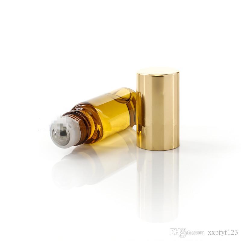Tragbare 10 ml Mini Rolle auf Gläsern Flaschen Duftend Parfüm Bernstein braun Dicke Glas Ätherische Ölflasche Stahl Metall Roller B813