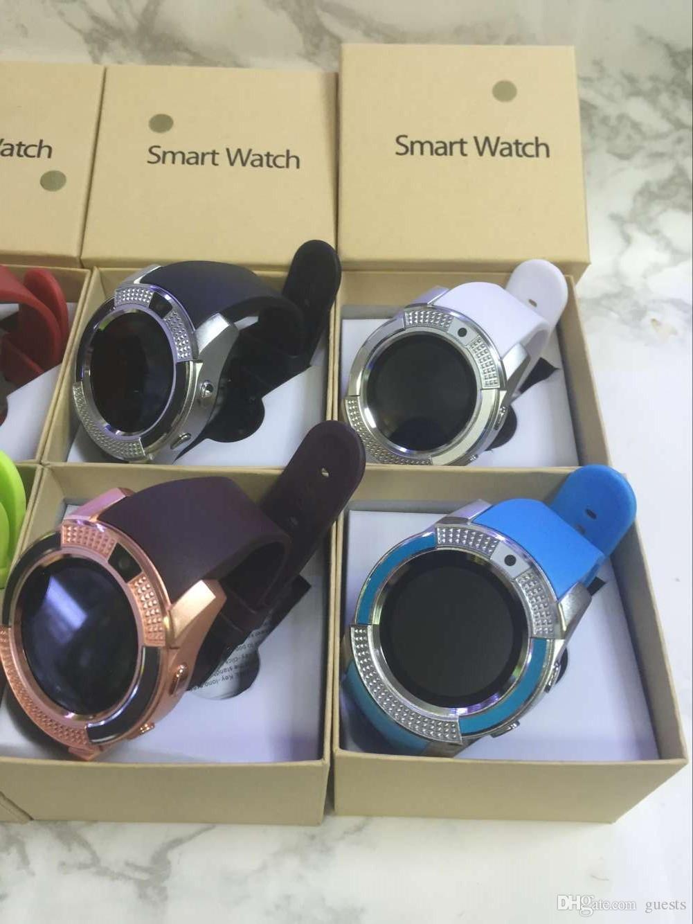 Intelligente Uhr V8 mit Sim TF-Kartensteckplätzen Bluetooth-Smart-Uhren für Android-Handys 0.3M Kamera SmartWatch mit Kleinpaket