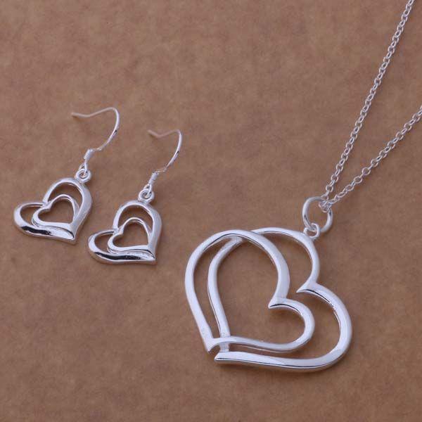 Conjunto de joyería de moda mixta 925 pendientes de collar de plata para que las mujeres envíen regalos a su novia / esposa envío gratis / 1466