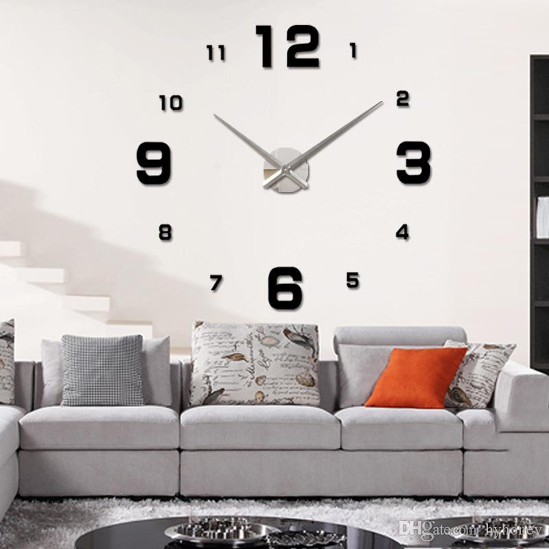 Whole 3d Modern Acrylic Mirror Wall Clock Saat Digital Large Led Relogio Parede Diy Home Decor Oversized Kitchen Clocks
