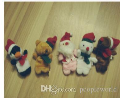 Dibujos animados de Navidad Papá Noel Dedo Juguetes Marioneta Juguete de Peluche Muñeco de nieve Oso Muñecas Para Niños Bebé Regalo de Los Niños 5 Unids / set