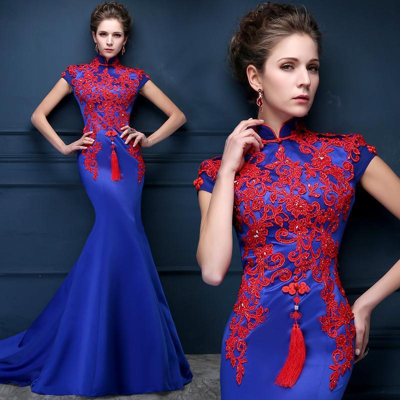Chinese Style Evening Dresses 2015 Royal Blue Red Applique Beads ...