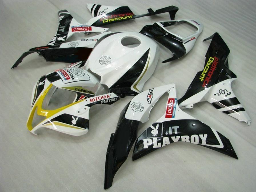 Литье под давлением высокое качество обтекатель комплект для HONDA CBR600RR 07 08 обтекатели CBR 600 RR F5 2007 2008 белый черный PLAYBOY кузова KQ51