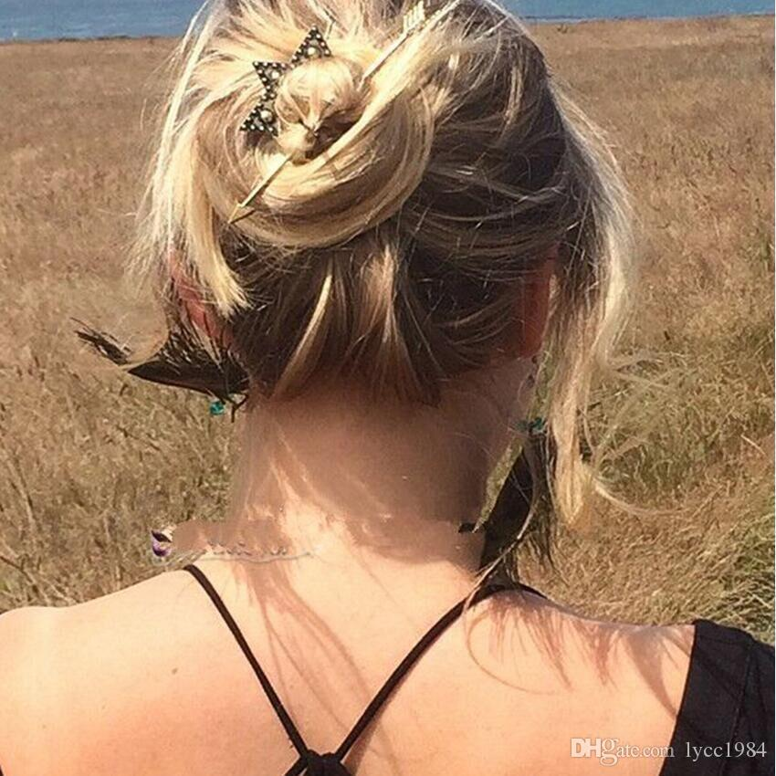 12 pçs / lote Boemia Hairgrip Grampo de Cabelo Antigo Do Vintage Seta de Ouro Pin Cabelo Jóias Grampo de Cabelo para As Mulheres Cabeça Desgaste Acessórios Varas de Cabelo