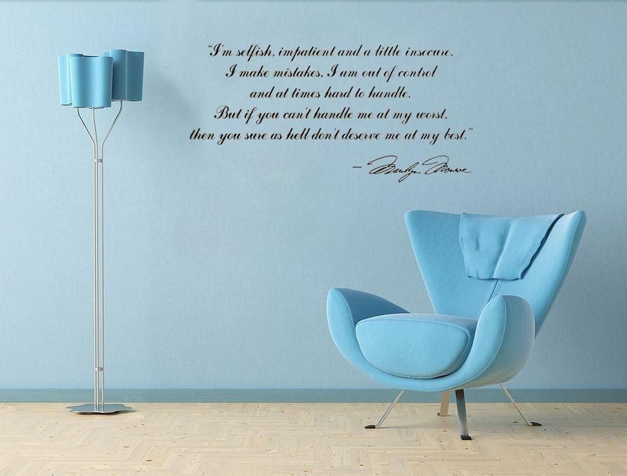 I\'M Selfish....Deserve Me At My Best Marilyn Monroe Wall Decals Home ...