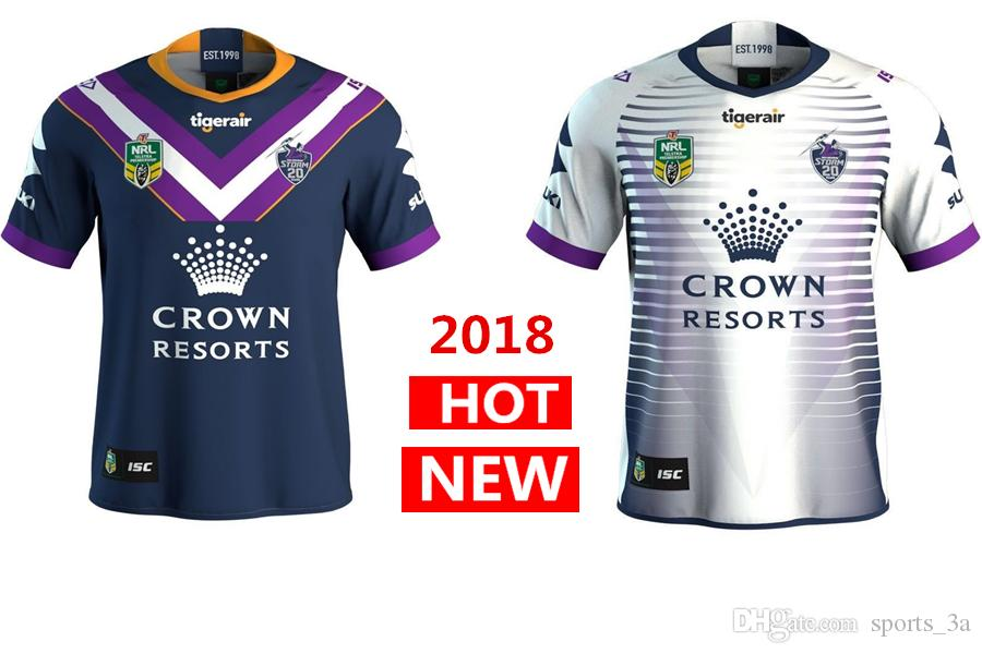 Hot Sales Melbourne Storm 2018 Home Away Rugby Jerseys NRL National ... a37f913817