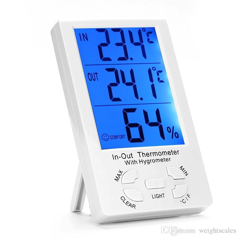 Цифровой крытый открытый ЖК-Часы термометр гигрометр температуры измеритель влажности C / F большой экран KT-905 термометры влажности