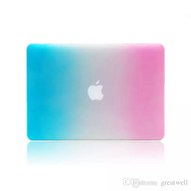 Rainbow Hard Rubberized Case Cover Protector for Apple Macbook Air Pro with Retina 11 13 15 inch A1706 A1708 A1707