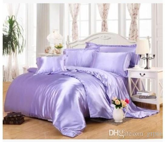 Light purple lilac bedding sets california king size queen full fitted Silk satin bed sheet duvet cover double bedspreads 6pcs
