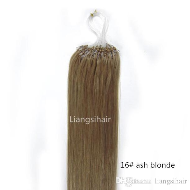 Brazilian Hair Products 8a 16 26 100s 16 Ash Blonde Loop Micro Ring