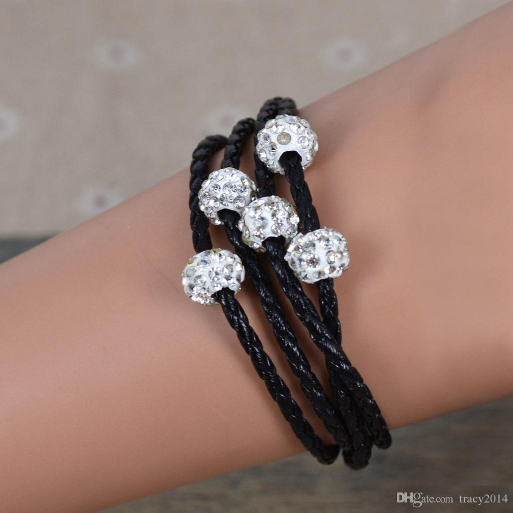 Shambhala Weave Leather Czech Crystal Rhinestone Cuff Clay Magnetic Clasp Bracelets Bangle multi row DIY bracelet