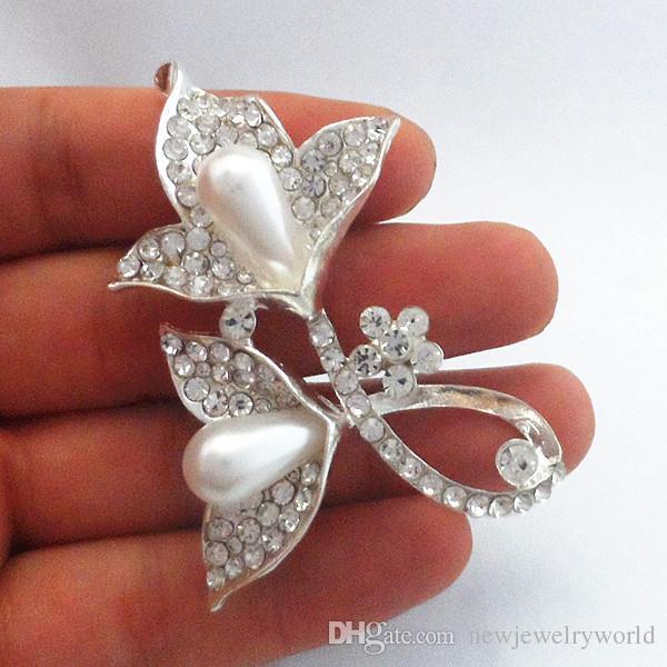 Hot Bling Bling Clear Crystal Rhinestone Flower Brooch Silver Tone Pearl Women Jewelry Pins For Girls Shirt Blouses Dress B926 Wedding