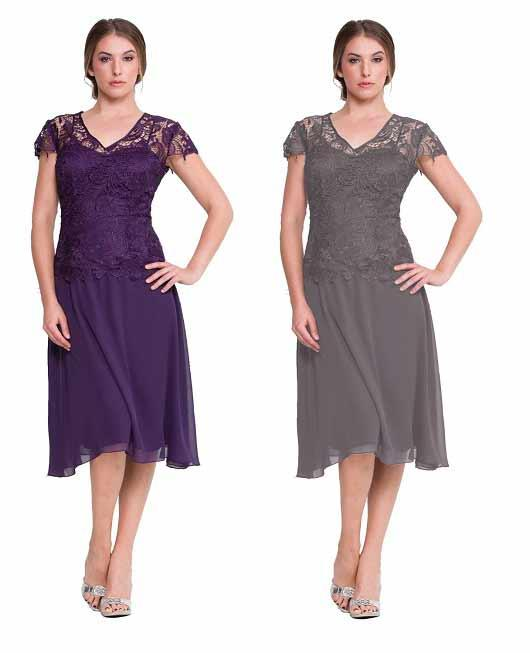 Silver And Purple Mother Of Groom Dresses 2019 Eleagnt V Neck Cap Sleeve knne Length Bridal Lace Formal Wedding Plus Size Gown