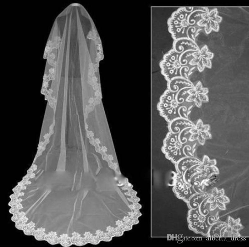 2019 длинные свадебные вуаль изысканные дешевые свадебные вуаль одно слой кружева края собора длина бусины свадьбы свадьба свадебные платья аксессуары