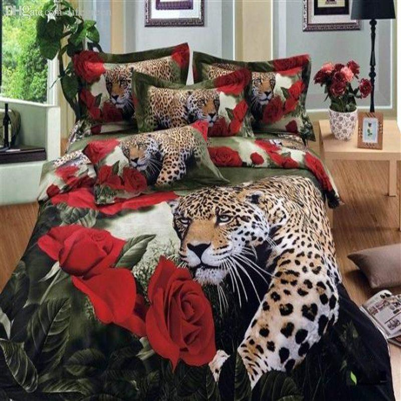 Whole 3d Oil Painting Animal Print Red Rose Leopard Bedding Set Queen Size Duvet Comforter Cover Bed Sheet Bedclothes Cotton White And Grey