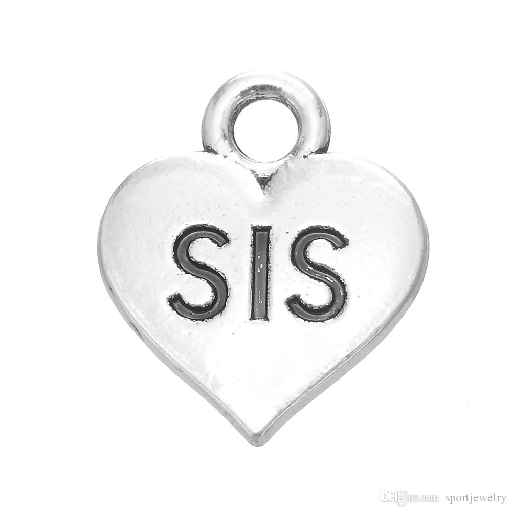 Word sis lil sis heart statement charm antique silver plated for word sis lil sis heart statement charm antique silver plated for jewelry making 184778 sister charms family charm gift for sister online with 400piece buycottarizona