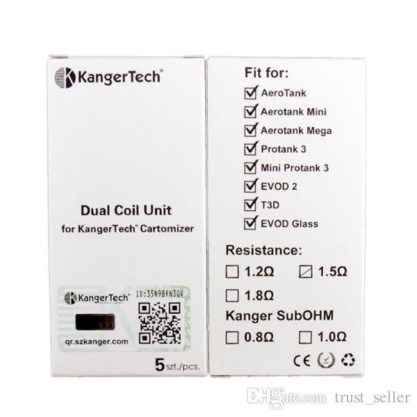 100% original kanger amélioré double bobines pour kangertech aerotank mega mini protank 3 evod verre 2 t3d atomiseur