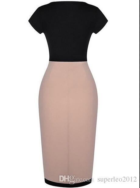 Женщины Лето с коротким рукавом Глубокий U шеи платье дамы Лоскутная Средний Сплит платье для похудения Твердая Управление леди колен платье