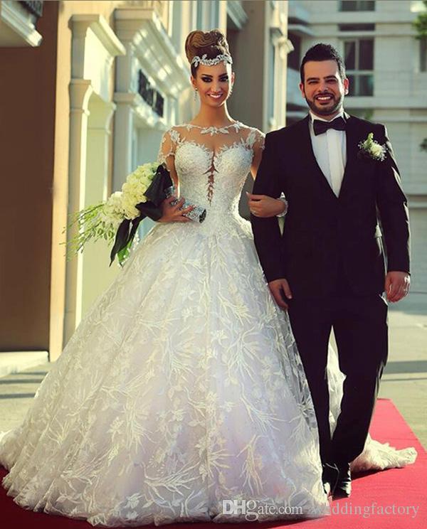 겸손한 긴 소매 웨딩 드레스 라인 볼 가운 깎아 지른 목 레이스 Appliqued Cathedral Trian Bridal Gowns Vestidos de Novia Plus 크기