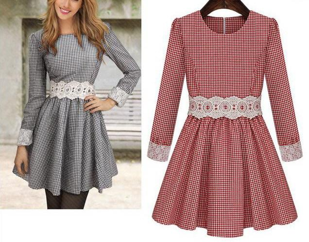 Plaid Red White Lace Sashes Girl Cute Print Dress Brand New 2015 ... 4fd6c2bf7