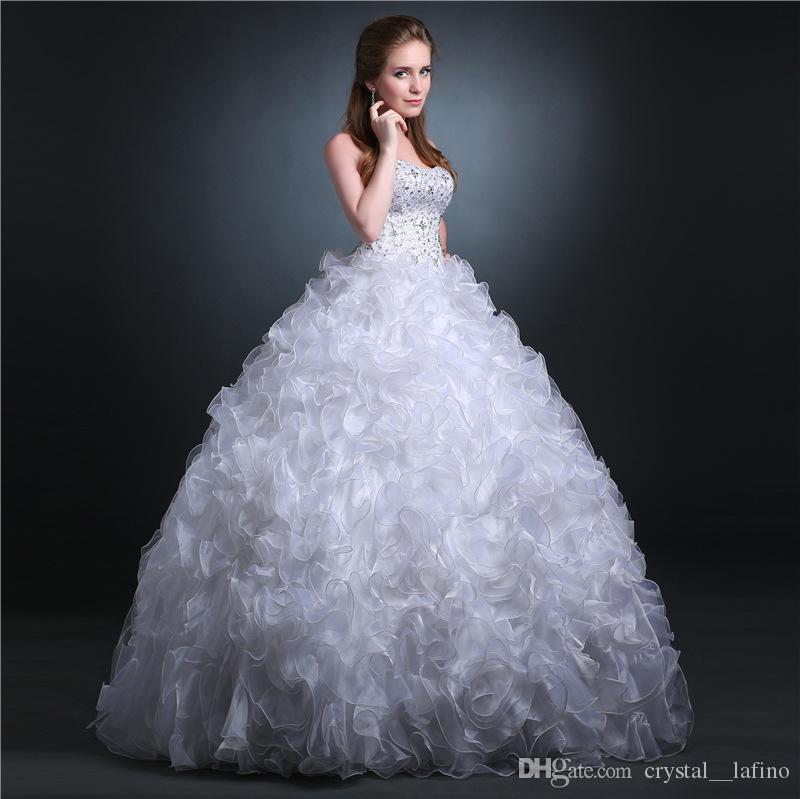 strapless ball gowns dresses organza fabric designer wedding dresses lace up discount wedding gowns floor length