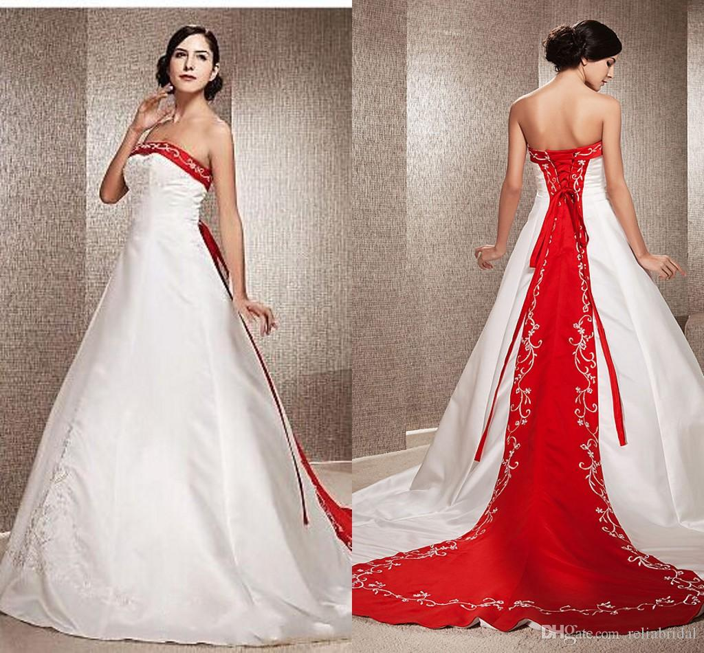 Discount Chinese Reception Wedding Dresses Red And White A Line ...