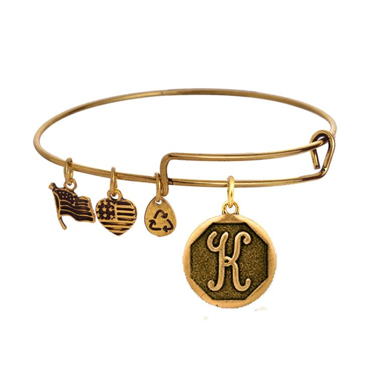 Vintage Antique Gold Plated Alex And Ani Initial Alphabet
