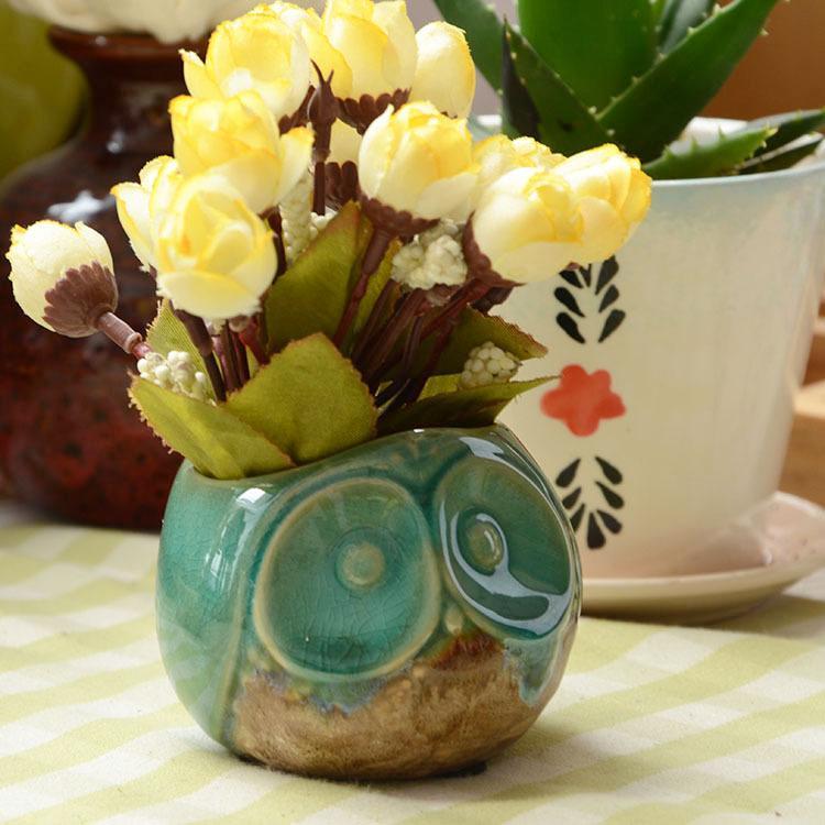 تزيين المنزل السيراميك اناء للزهور البومة شمعدانات سطح المكتب زهرة المزهريات السيراميك أواني الزهور هدية عيد النباتات الخضراء أصحاب القلم