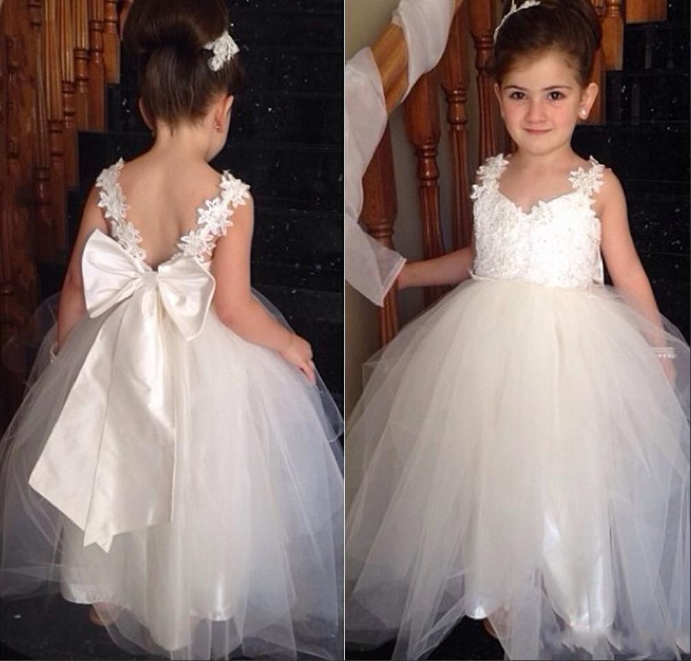 Ivory Lace Flower Girl Dresses For Wedding Event Sexy Backless