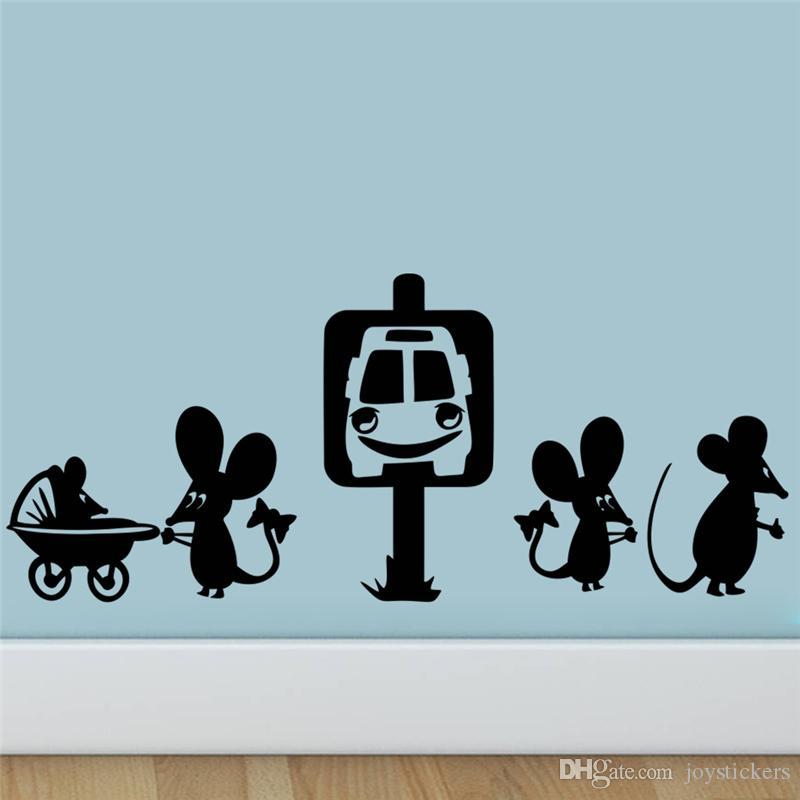 Freeship divertente mouse Family Car Cartoon adesivi murali camera decorazione di DIY vinile decalcomanie domestiche degli animali murale Art Poster