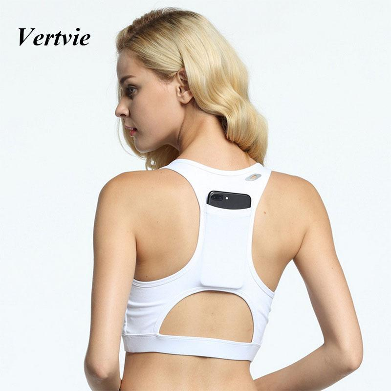 a1ba64db9bb25 2019 Wholesale Vertvie Women Sports Bra Sexy Back Tank Tops With Pocket For  Phone Fitness Outdoor Running Gym Clothing Push Up Yoga Bras New From  Prescott