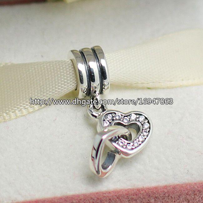 S925 стерлингового серебра с блокировкой сердца болтаться очарование шарик с ясно Cz подходит Европейский Pandora ювелирные изделия браслеты ожерелья кулон