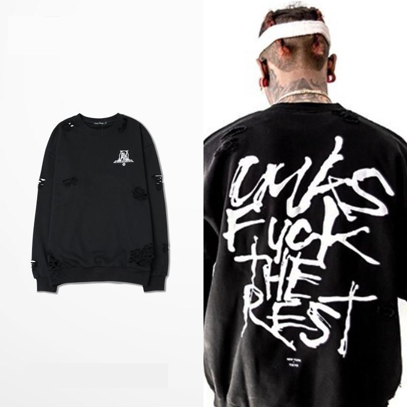 6895e05c J $tash KOHH High-End Broken Custom Men Sweatshirts Hiphop Streetwear  Graffiti Letters Kanye West Long Sleeve Sportswear XXXL Online with  $27.55/Piece on ...
