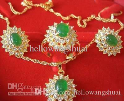 Изумрудный нефрит 18k GP Кристалл кулон ожерелье серьги кольцо / драгоценный камень ювелирные наборы