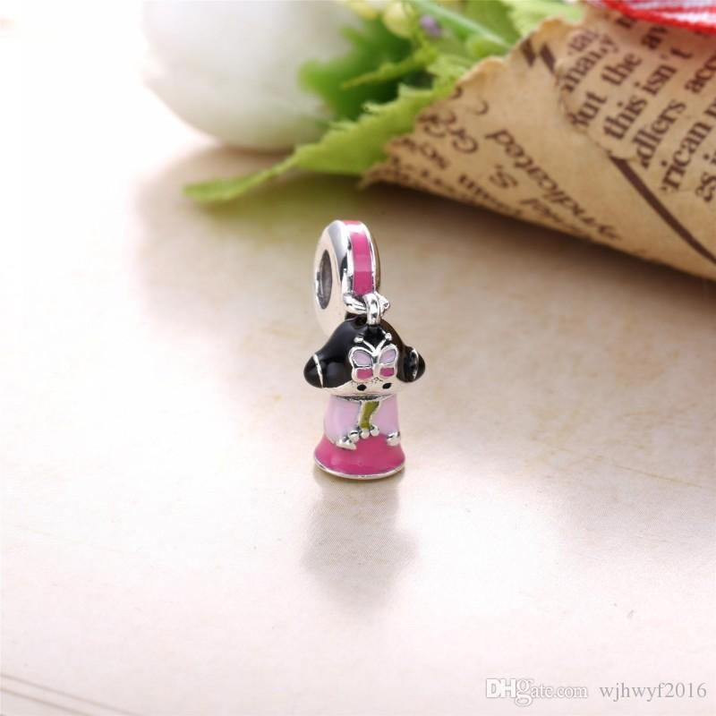 New Mixed Enamel Korean Doll Charm Pendants 925 Sterling Silver Pink Doll Charms Diy Travel Fine Jewelry Fits Pandora Bracelet Making
